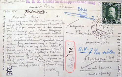 Thomée József szerb frontról küldött egyik lapjának hátoldala