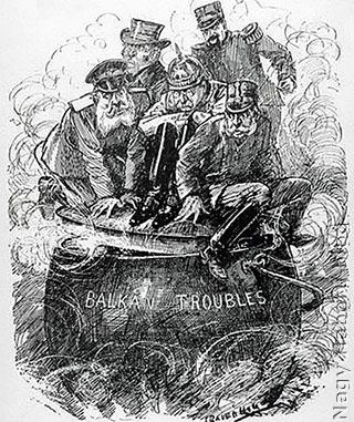 1912-es karikatúra a forrongó Balkánról