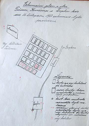 Az 1923-as exhumálási terv, pirossal jelölve a Tizsényben újonnan kialakított sírok
