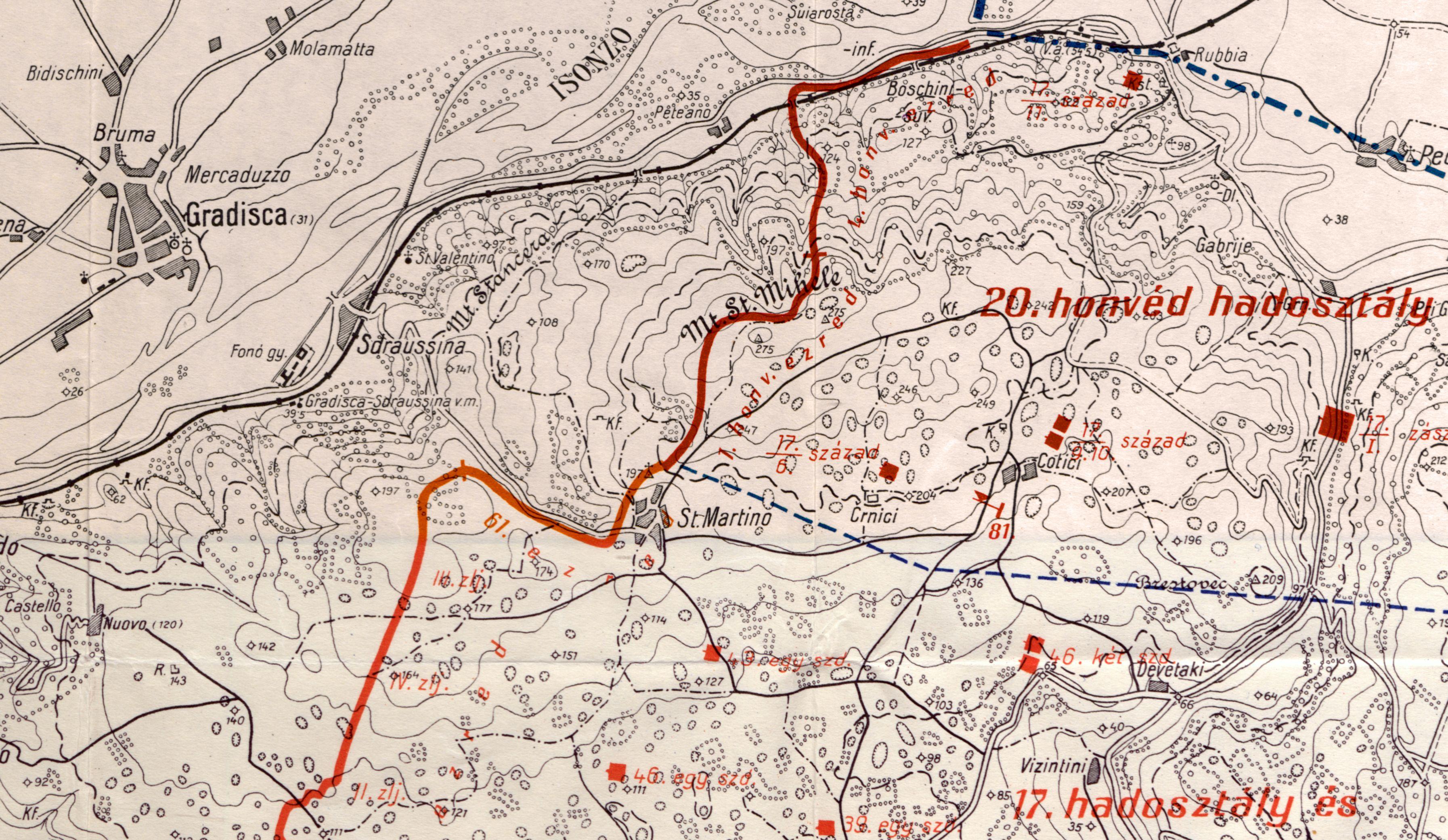 La posizione della VII Corpo d'Armata a difesa di Doberdò il 3 giugno 1916, il particolare della mappa mostra principalmente la parte settentrionale, difesa dalla 20a divisione di fanteria honvéd. Sul Monte San Michele nelle postazioni c'è il 1o reggimento di fanteria honvéd di Budapest, dietro l'altura presso Cotiči è segnato il comando dell'81 <sup>a</sup> brigata di fanteria comprendente il 1° reggimento di fanteria honvéd e il 17° di Székesfehérvár, oltre a due compagnie in riserva del 17