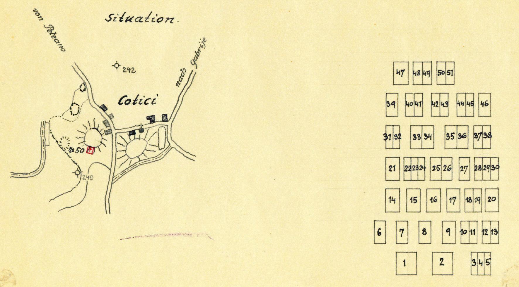 Il disegno catastale del cimitero dal 1918