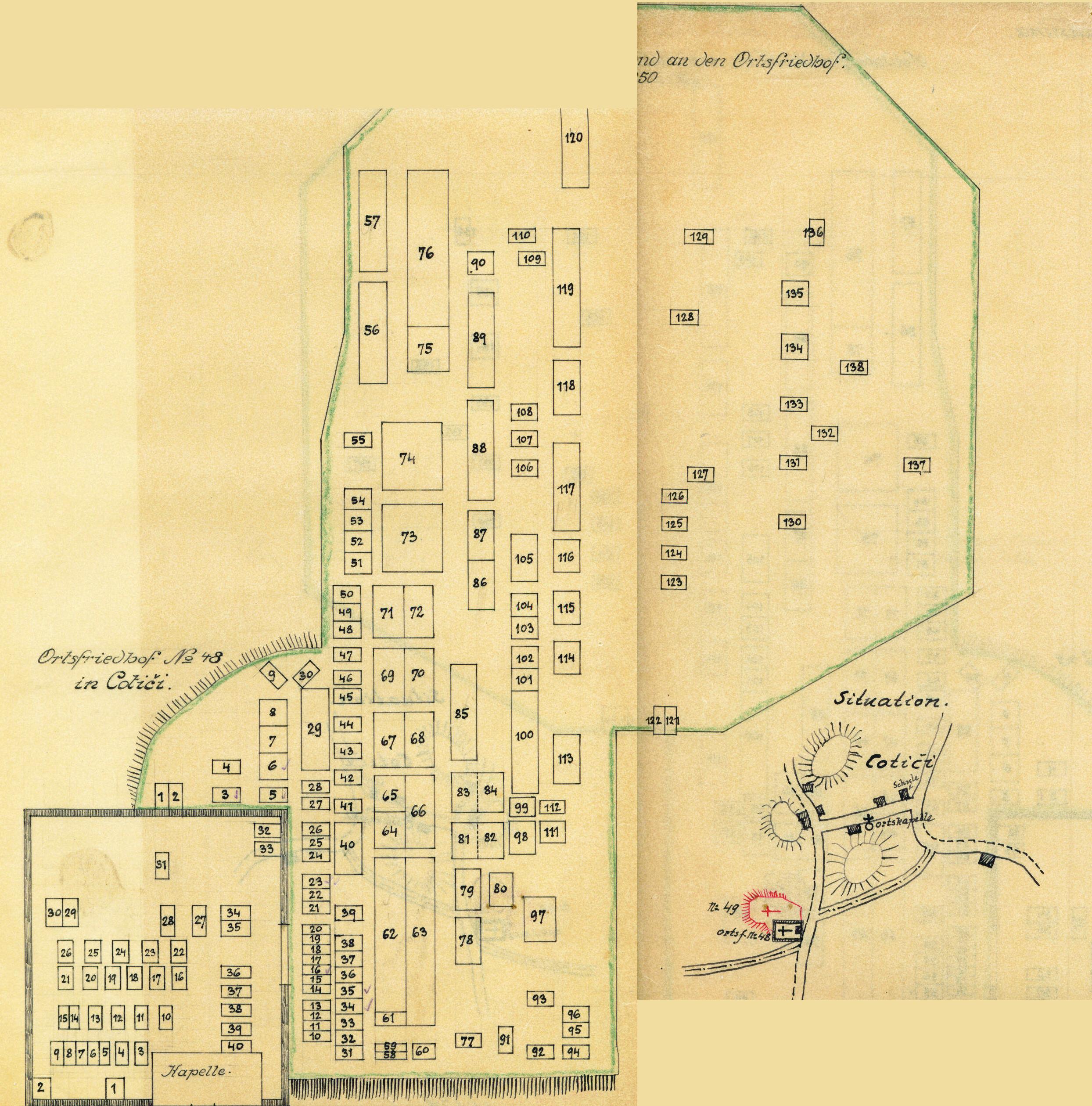 Disegno del 1918 dei cimiteri 48-49 di Cotiči