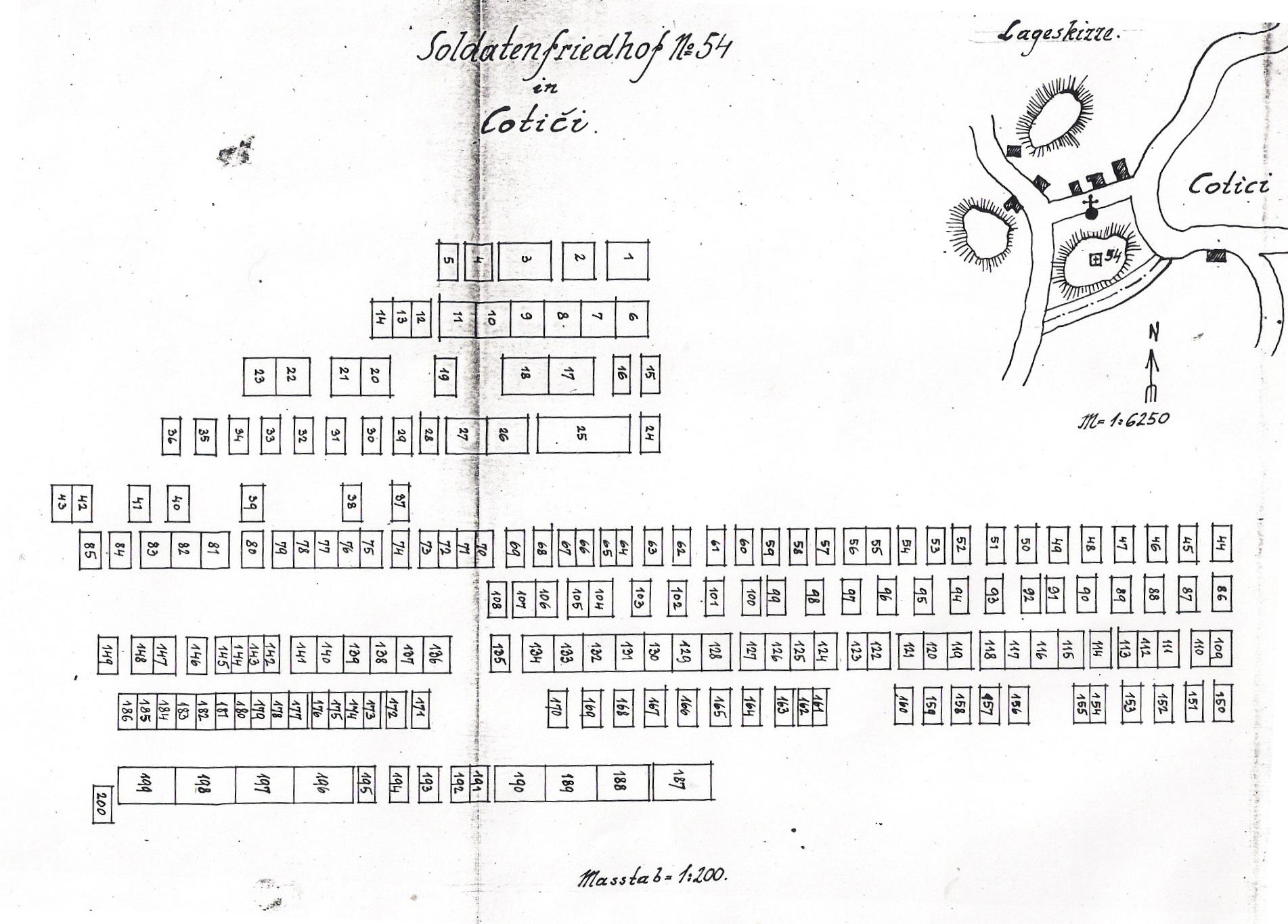 Il disegno catastale del cimitero del 1918
