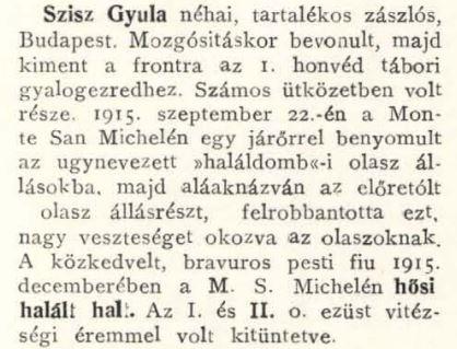 Di Gyula Szisz hanno scritto nell'albo del 1o honvéd