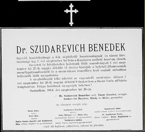 Dr. Szudárevich Benedek gyászjelentése