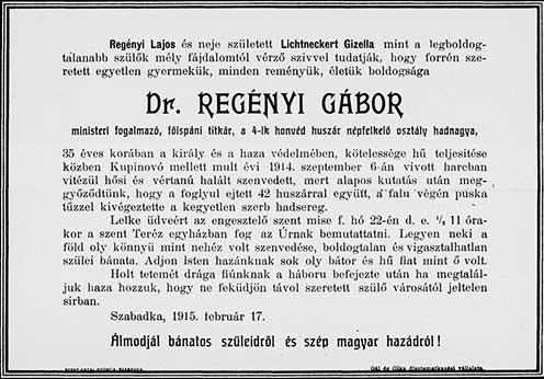 Dr. Regényi Gábor gyászjelentése