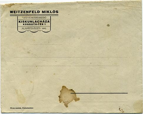 Weitzenfeld Miklós céges papírborítékja