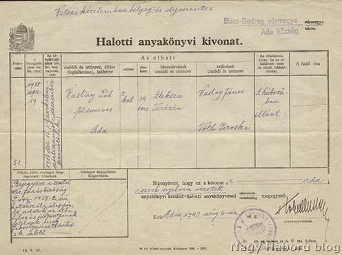 Vastag Pál halotti anyakönyvi kivonata. A holttá nyilvánítási eljárást a zentai Járásbíróság 1937-ben folytatta le, a bírósági határozat alapján az adai Anyakönyvi Hivatal a haláleset tényét 1938. április 19-én jegyezte be