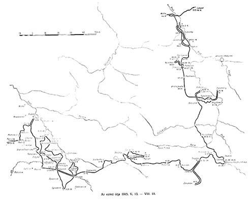 A kassai 5. honvéd huszárezred útja 1915. május 13 – augusztus 19.