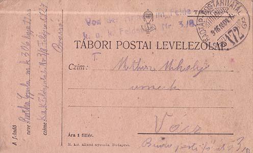 Bertha Gyula 306. honvéd gyalogezredtől küldött levelezőlapja