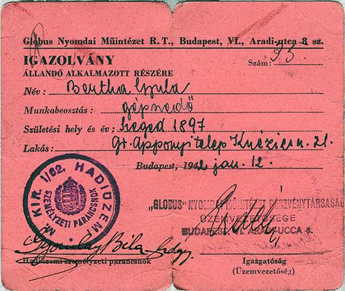 Bertha Gyula hadiüzemi igazolványa 1942