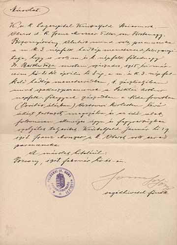 A Monzer ezredes által adott igazolásnak a pozsonyi honvédkerület parancsnokságán kiállított másolata