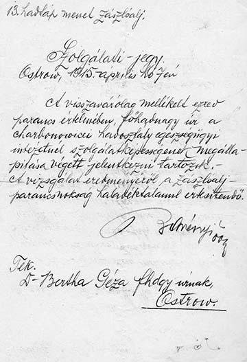 Az Ostrówban kiállított szolgálati jegy