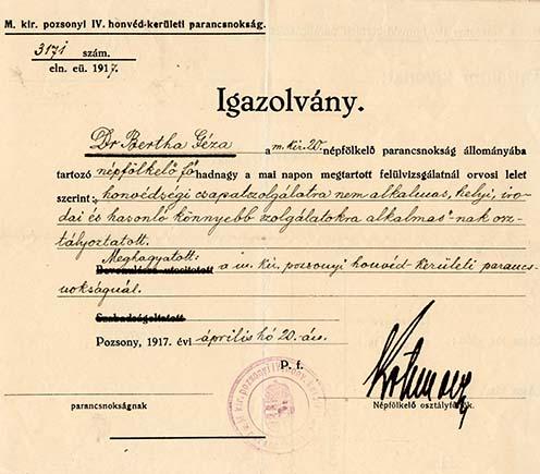 A pozsonyi honvédkerületi parancsnokság által kiállított igazolás