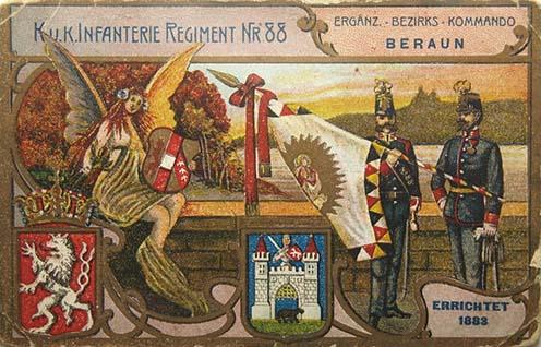 La cartolina dell'imperial-regio reggimento di fanteria n° 88 con lo stemma boemo e di Beraun
