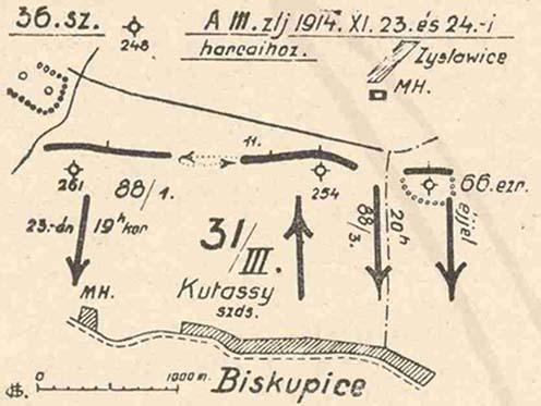 Il reggimento di fanteria ceco N° 88 nella battaglia di Biskupice secondo l'opera di Herczegh Géza intitolato A veszprémi honvédek hadtörténete (Cegléd, 1936. 118.)