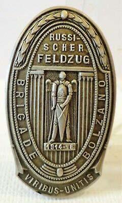 Il kappenabzeichen della brigata Bolzano dalla campagna di Russia con il motto di Francesco Giuseppe