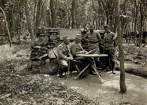 Il consiglio di comando del reggimento N° 88 nella foresta di Burkaniv