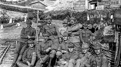 I soldati del reggimento di fanteria N° 81 di Jihlava sulla fotografia di Antonín Kurka, farmacista militare di complemento