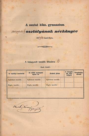 A negyedik osztályos Gombos Zoltán bejegyzése a Zentai Gimnázium névkönyvébe az 1879/80-as tanévben