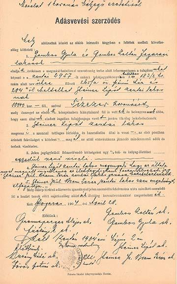 Adásvételi szerződés 1904-ből