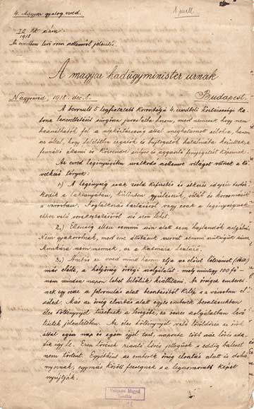 Gombos Zoltán alezredes 1918. december 8-án a hadügyminiszterhez intézett jelentésének első lapja