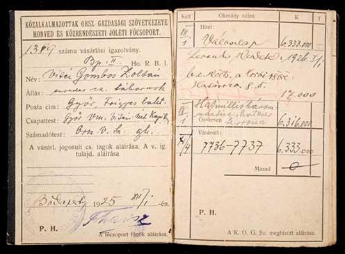 A vitéz Gombos Zoltán ezredes, c. tábornok nevére 1925-ben kiállított vásárlási igazolvány