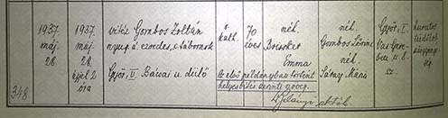 vitéz Gombos Zoltán ezredes, c. tábornok 1937-ben bekövetkezett halálesetének bejegyzése a győri halotti anyakönyvben