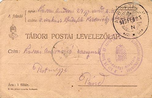 Karsai András Budafokról feleségének küldött levelének előlapja