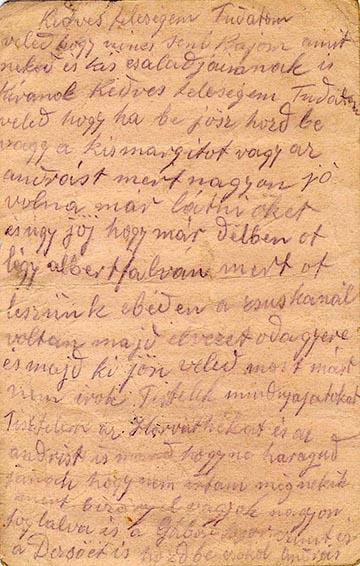 Feleségének küldött levelének hátlapja