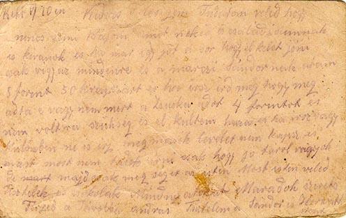 1915. május 10-én kelt levele feleségének