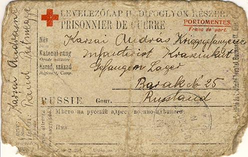 Karsai Andrásné 1915 decemberében férjének írt lapjának előoldala