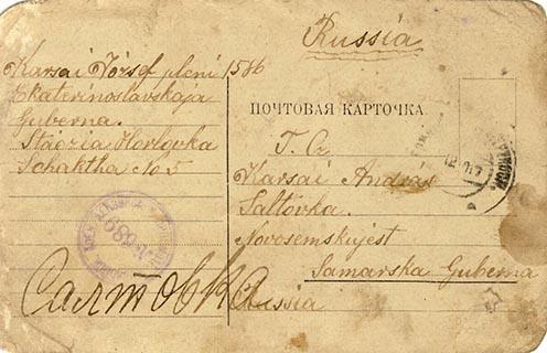 Karsai József Horlovkáról írt tábori lapja öccsének, Andrásnak