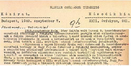 Korábbi hőstettekre emlékezik a távirati ügynökség (a mai MTI) napi híre 1940-ben