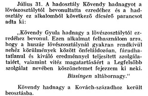Bissingen altábornagy dicsérő parancsa Kövendy Gyula hősies helytállásáról az ezredtörténetben