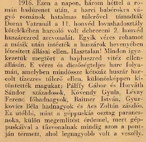 Dornavátra – a bukovinai harcok egyik hadszíntere. 1941-es megemlékezés a Nagy Háborúról, Kövendyről és társairól a Zalamegyei Újságban