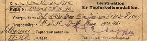 """Mészáros Kiss János 1915-ben kiérdemelt """"kisezüstjének"""" igazolása"""