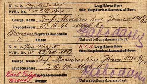 Mészáros Kiss János 1917-ben kiérdemelt Bronz Vitézségi Érmének és Károly csapatkeresztjének igazolása