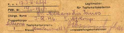 """Mészáros Kiss János 46-os őrvezető 1918-ben, a piavei offenzíva során kiérdemelt """"nagyezüstjének"""" igazolása"""