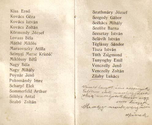 A könyv harmadik és negyedik lapja a szervezők nevével (a 3. lapon felülről a 10. Miklóssy Béla). A negyedik lapon kézírással a vers