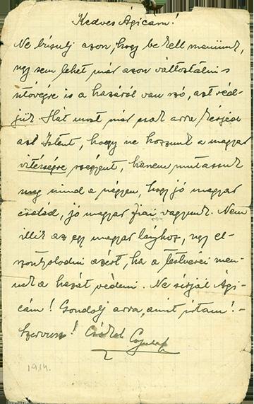 Miklóssy Gyulának testvéréhez, Ágneshez írt levele