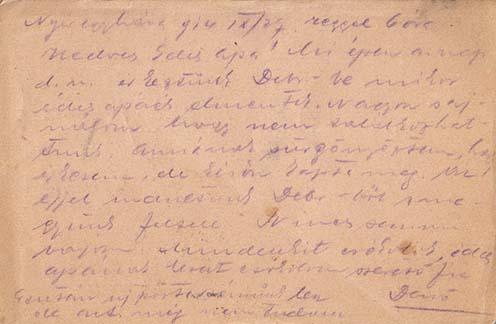 Dezső Nyíregyházáról küldött lapja