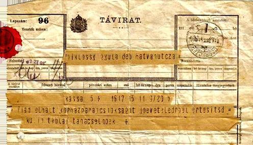 A Miklóssy Dezső elhunytáról értesítő távirat. Címzettje Miklóssy Gyula
