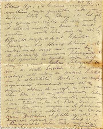 1914. szeptember 17-én kelt levele
