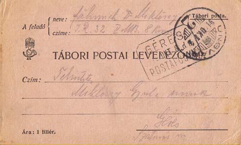 Ungvárról küldött lapja