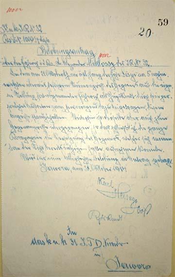 Miklóssy Sándor kézzel írt német nyelvű kitüntetési javaslata 1914. október 24. Jawora