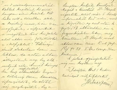 Bajtársának, Seidner Jánosnak a levele, amelyben Sándor hősi haláláról értesíti Miklóssy Gyulát