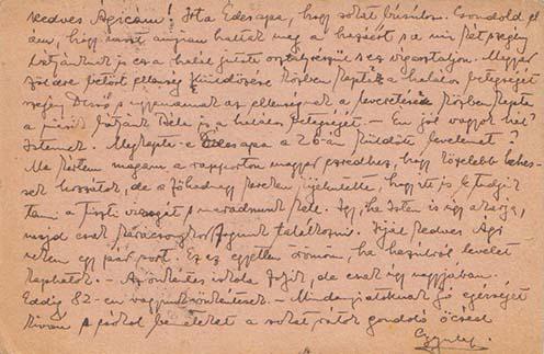 Gyula október 31-én küldött tábori lapja