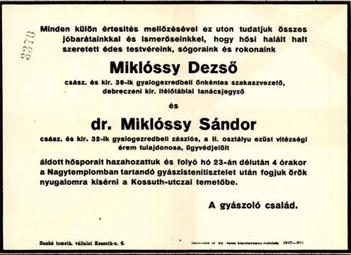 Értesítés Miklóssy Dezső és Miklóssy Sándor hamvainak hazahozataláról