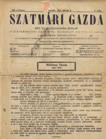 A Szatmári Gazda nekrológja
